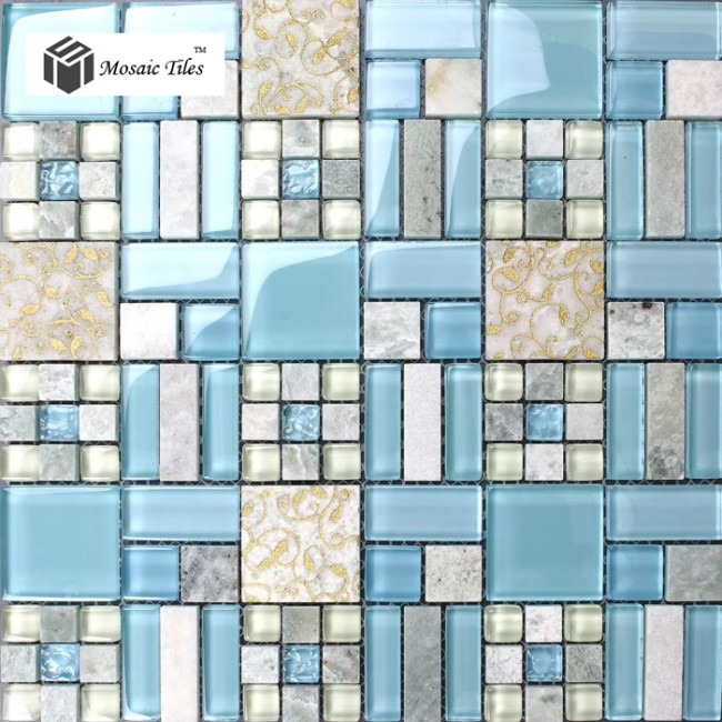 TST Stone Glass Tiles Golden Carved Flower Blue Strips & Grids Marble Wall Art Mosaic