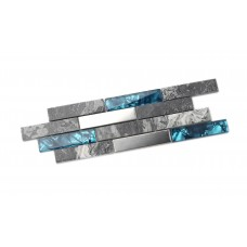 TST Glass Tiles Nature Stone Grey Marble Stainless Steel Teal Blue Glass Accent Wall Decor TSTMGT001-SAMPLE 4x12 Inches