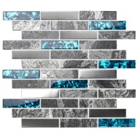 TST Glass Tiles Nature Stone Grey Marble Stainless Steel Teal Blue Glass Accent Wall Decor TSTMGT001