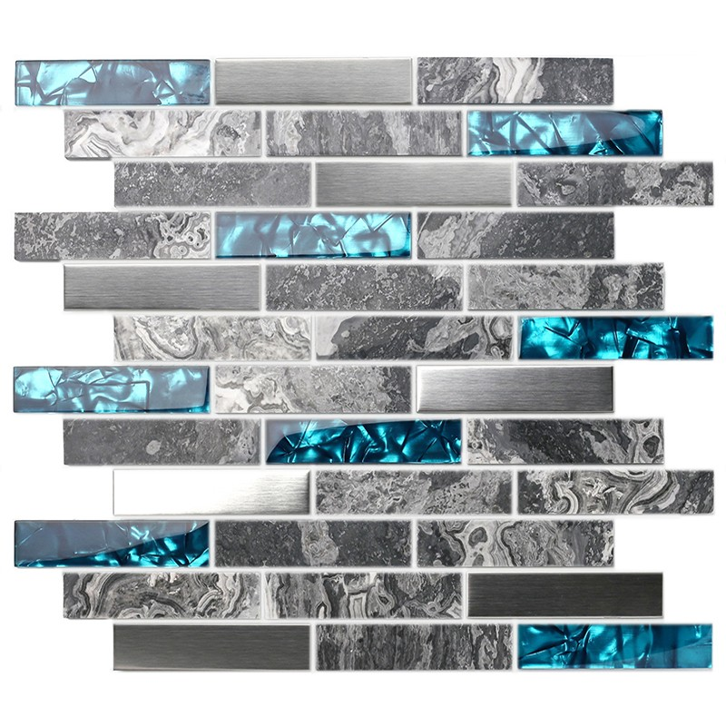 TST Glass Tiles Nature Stone Grey Marble Stainless Steel Teal Blue ...
