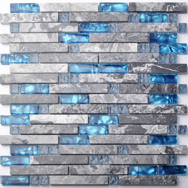 TST Nature Stone Glass Tiles Blue Wave Marble Striped Art Mosaics Bar Hotel Deco TSTMGT002