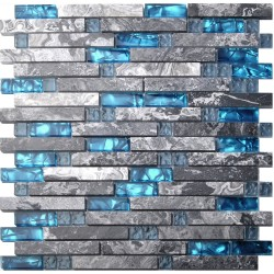 Home Building Glass Tile Kitchen Backsplash Idea Bath Shower Wall Decor Teal Blue Gray Wave Marble Interlocking Pattern Art Mosaics TSTMGT002