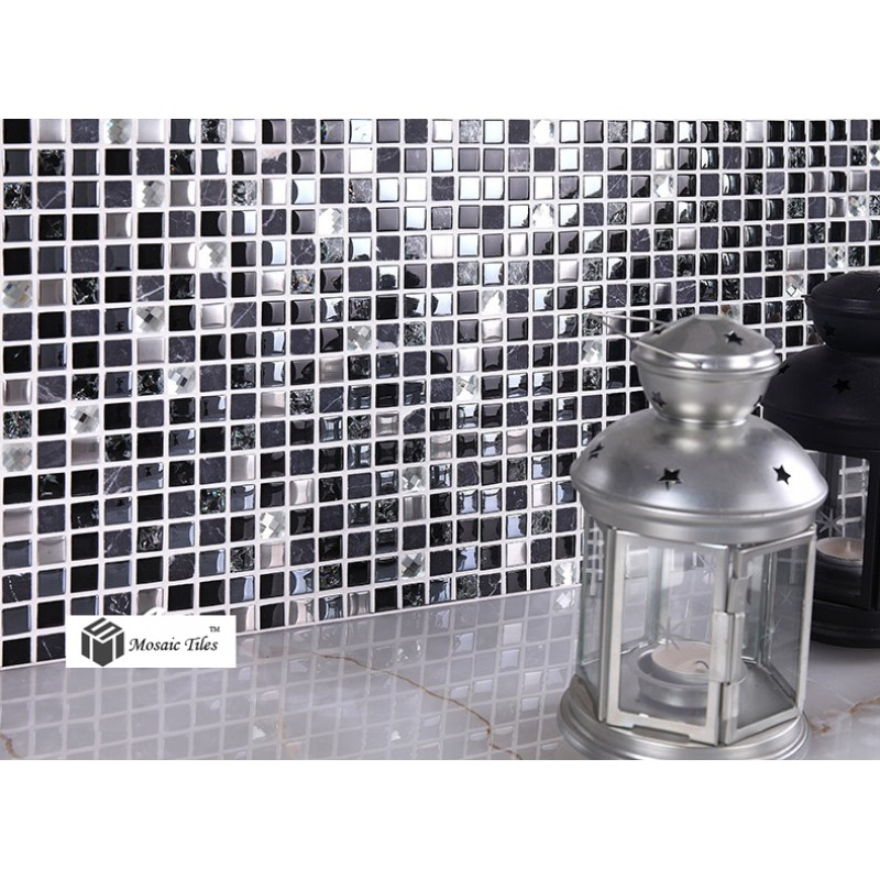 Stainless Steel Pattern Gray Glass Mosaic Tile: TST Glass Stone Tiles Black Dark Grey Squared Grid Marble