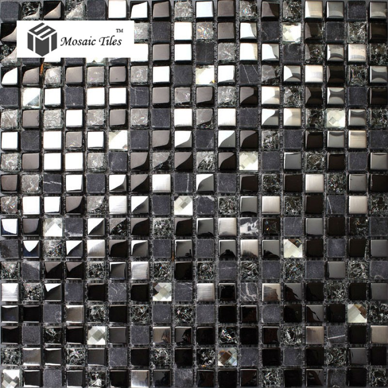 TST Glass Stone Tiles Black Dark Grey Squared Grid Marble Kitchen ...