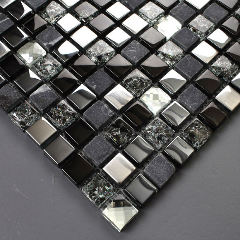 TST Glass Stone Tiles Black Dark Grey Squared Grid Marble Kitchen Backsplash
