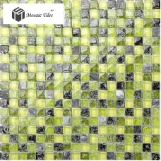 TST Stone Glass Tiles Green & Black Inner crackle Grids Marble Backsplash Tile Art Decor