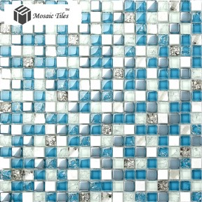 TST Stone Glass Tiles Blue & White Grids Marble Wall Bathroom Mosaic Tile