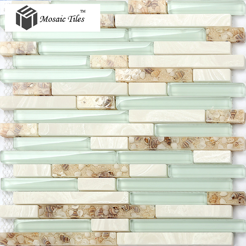 sea green glass conch beach style tile white stone kitchen backsplash