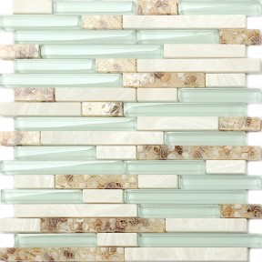 Beach Style Glass Tile Mother of Pearl Shell Resin Kitchen Backsplash Green Lake White Stone Interlocking Art Tile TSTMGT084
