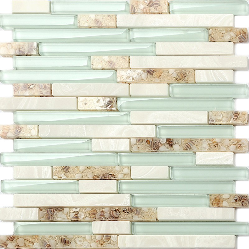 TST Sea Green Glass Conch Beach Style Tile White Stone Kitchen Backsplash  Bathroom Wall Art TSTMGT084 ...
