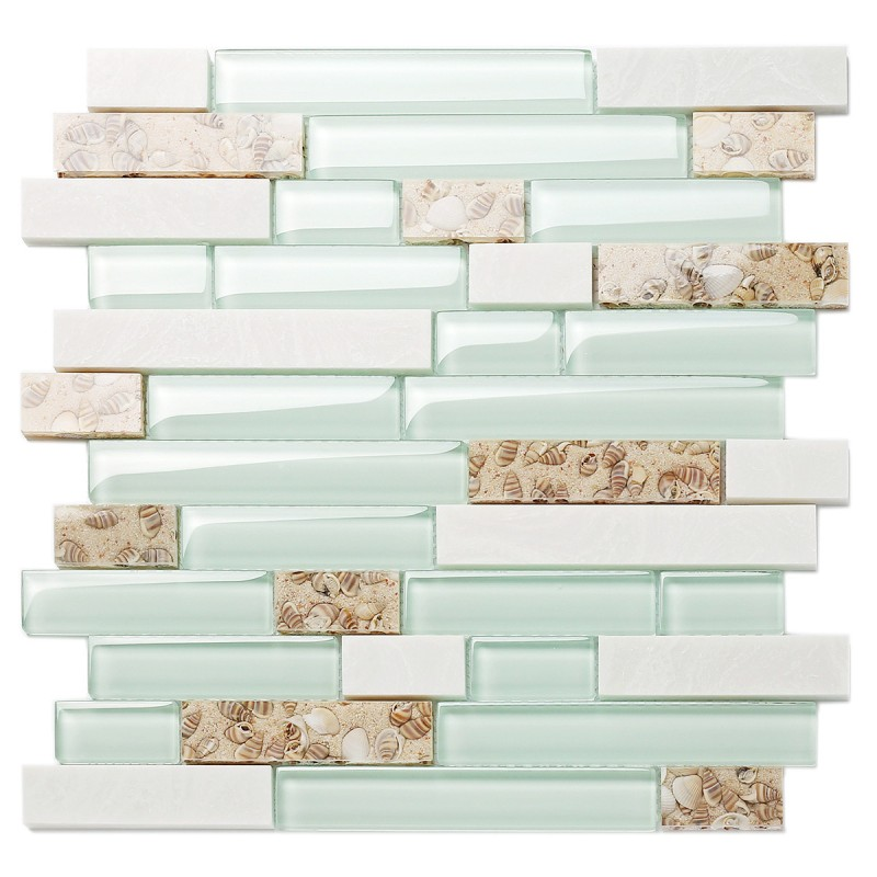 Pleasing Tst Sea Green Glass White Stone Conch Beach Style Tile Kitchen Backsplash Bathroom Wall Art Tstmgt085 Home Interior And Landscaping Ologienasavecom