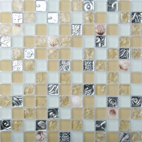 TST Glass Conch Tiles Beige Sliver Squared Bathroom Bathtub Countertop Modern Dining Room 3D Pattern Design TSTMJK10