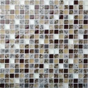 TST Crystal Glass Tiles Brown White Grids Inner Crackle Kitchen Home Wall  Mosaic Decor