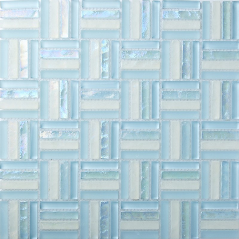 Charming TST Crystal Glass Tiles Sky Blue Strips Designed Bathroom Foyer Flooring  Mosaic Tile Water Wave Finish Decor