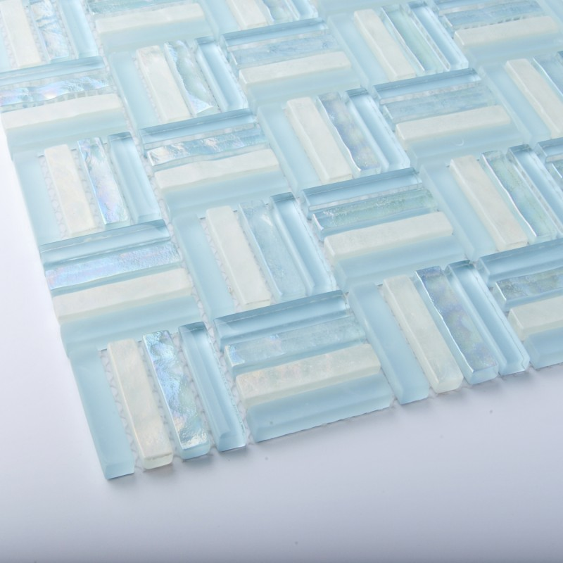 Tst Crystal Glass Tiles Sky Blue Strips Designed Bathroom