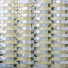 TST Glass Bridge Transparent Iridescent Arch Glass Golden & Silver Grids Backsplash Kitchen Tile