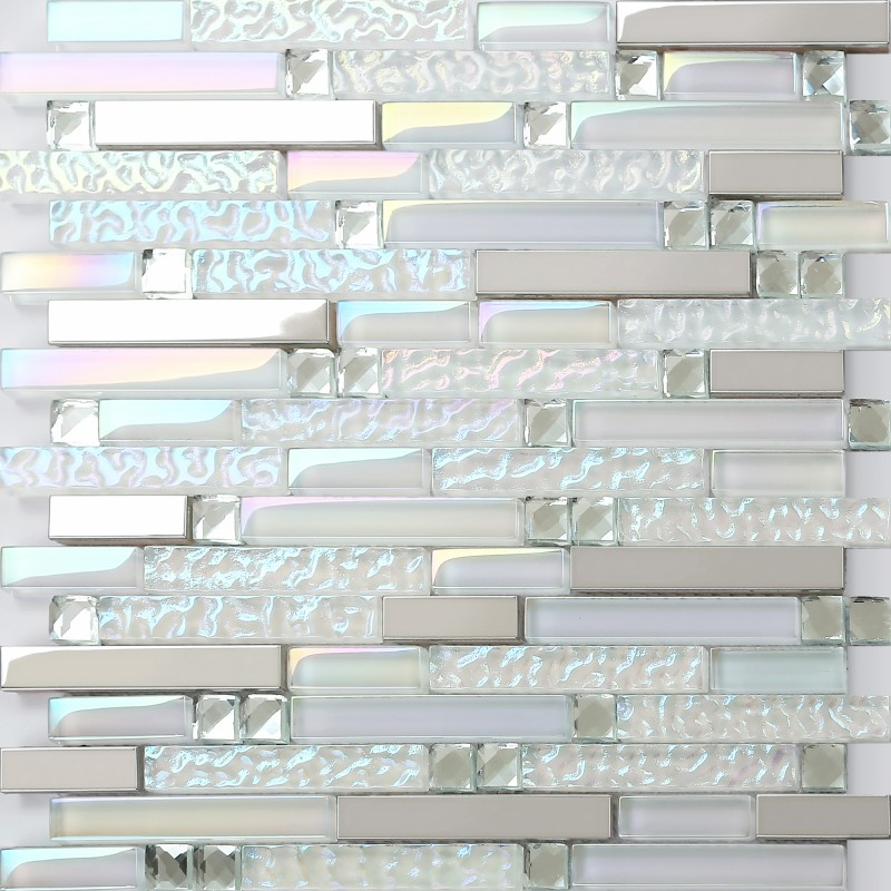 New Design TST Glass Metal Tile Iridescent White Glass Silver Mirror Stainless Steel Blends Interlocking Strip Wall Tiles TSTNB01 Box of 5 sq.feet