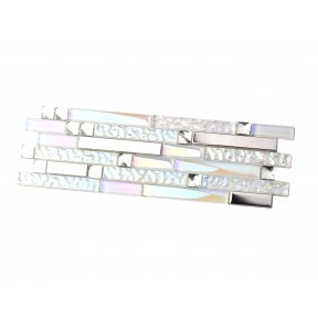 TST  Iridescent White Glass Silver Mirror Stainless Steel Tile TSTNB01 Sample Size 4x12 inches