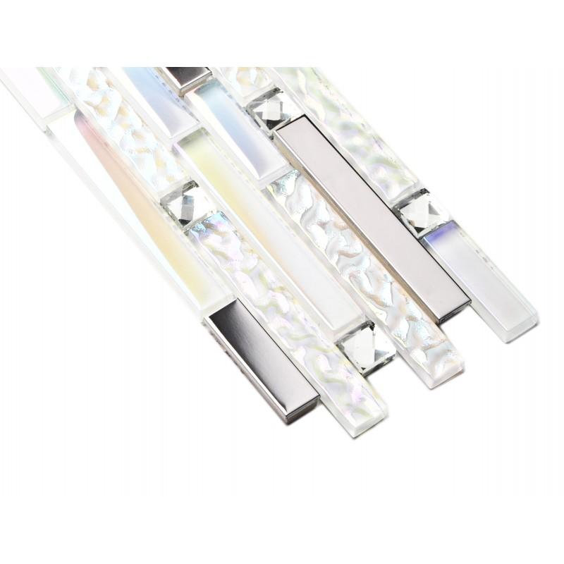 Tst Iridescent White Glass Silver Mirror Stainless Steel
