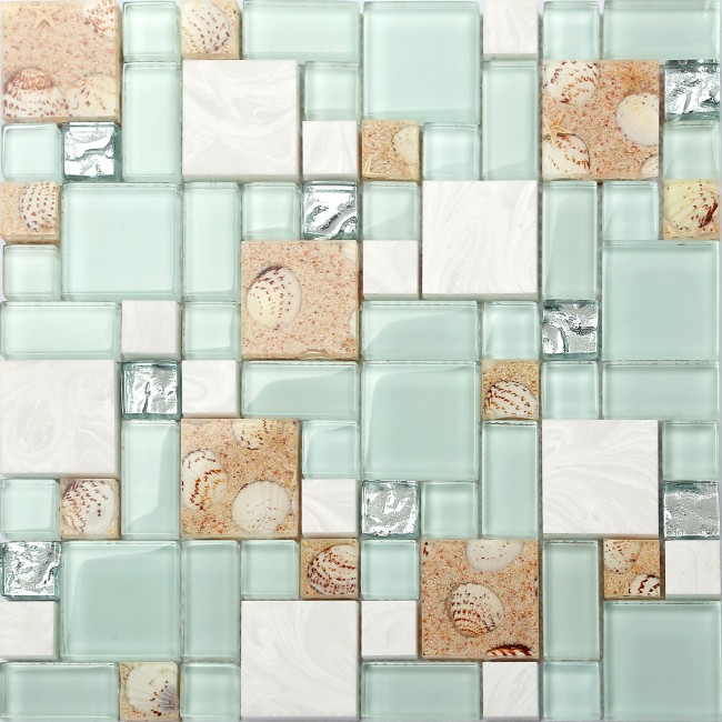 TST Green Lake Glass Tile Beach Style Mother Of Pearl Inner Acrylic Design Interior Backplash Wall Ideas TSTNB02