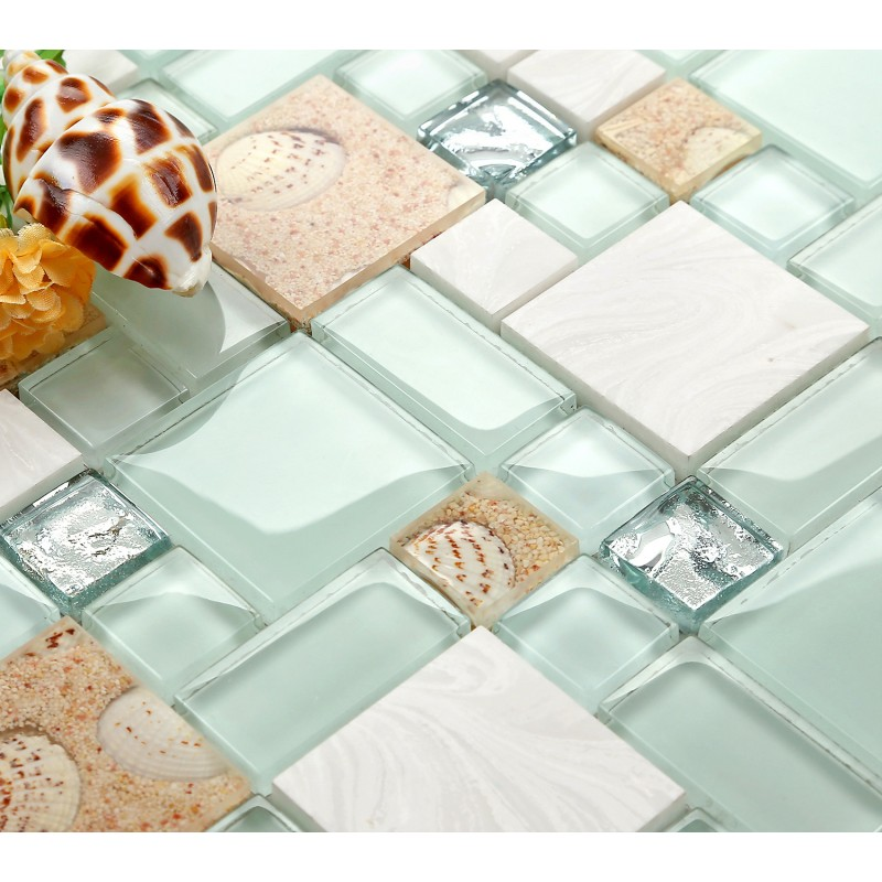 Tst Green Lake Glass Tile Beach Style Mother Of Pearl