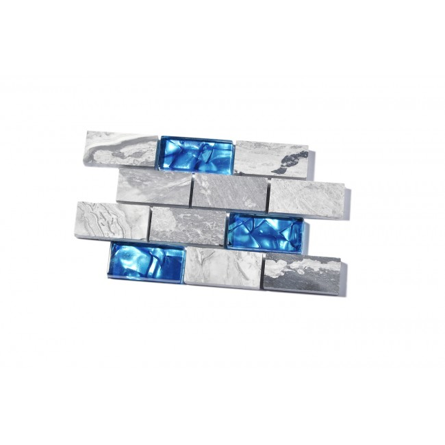 TST  Cool Blue Grays Subway Glass Mosaic Marble Tile TSTNB03 Sample 4 x 6 inches