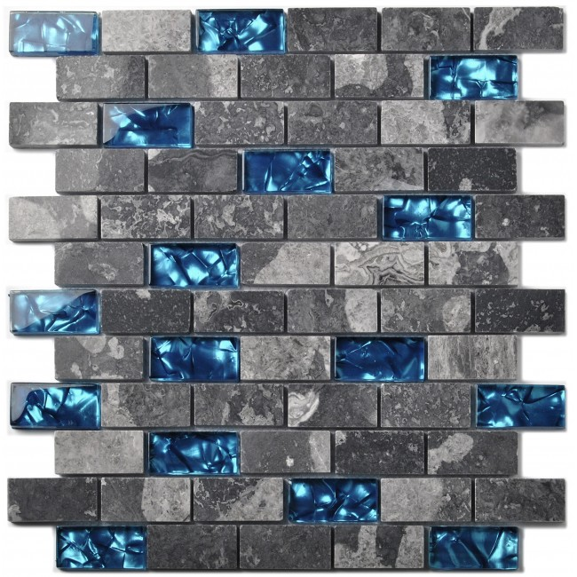 "TST Cool Blue Grays 1""x2"" Subway Glass Mosaic Marble Tile New Design Wall Backsplash Ideas TSTNB03"