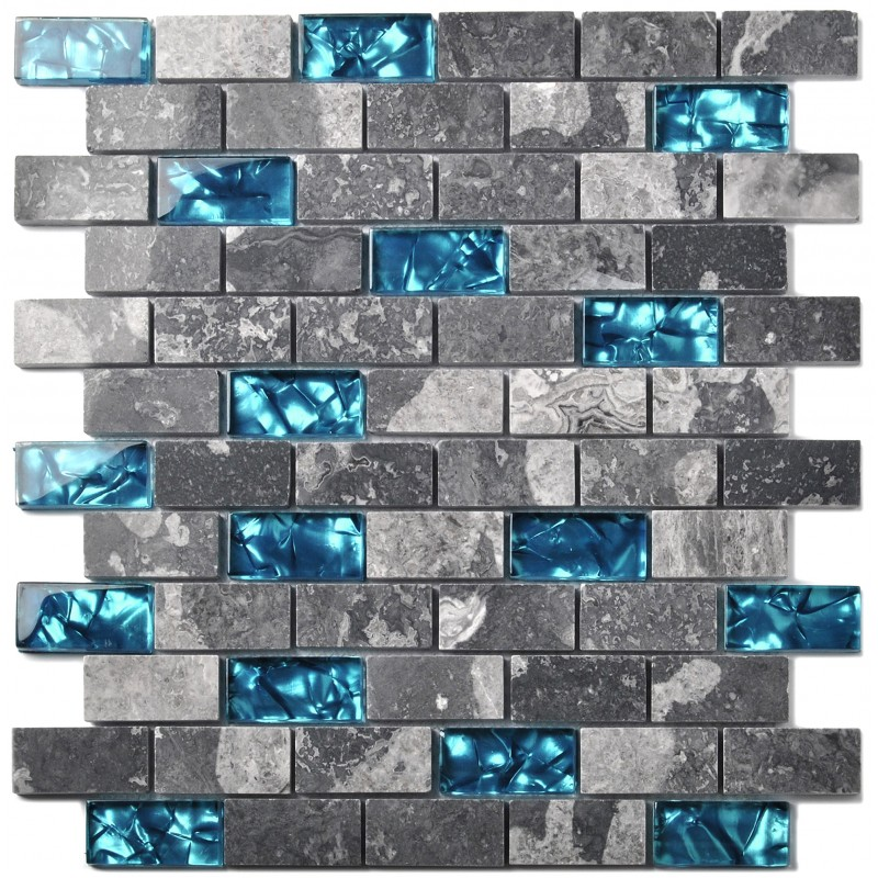 Tst Glass Stone Tiles Black Dark Grey Squared Grid Marble Kitchen