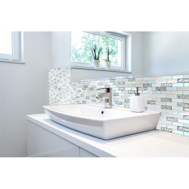 ... TST 1x2 Super White Iridescent Subway Brick Glass Mosaic Tile For  Kitchen Backsplash Bath Shower Wall ...