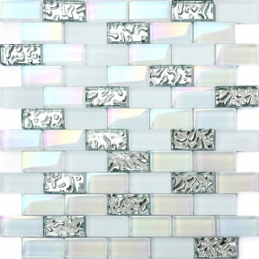 TST 1x2 Super White Iridescent Subway Brick Glass Mosaic Tile For Kitchen Backsplash Bath Shower Wall TSTNB04