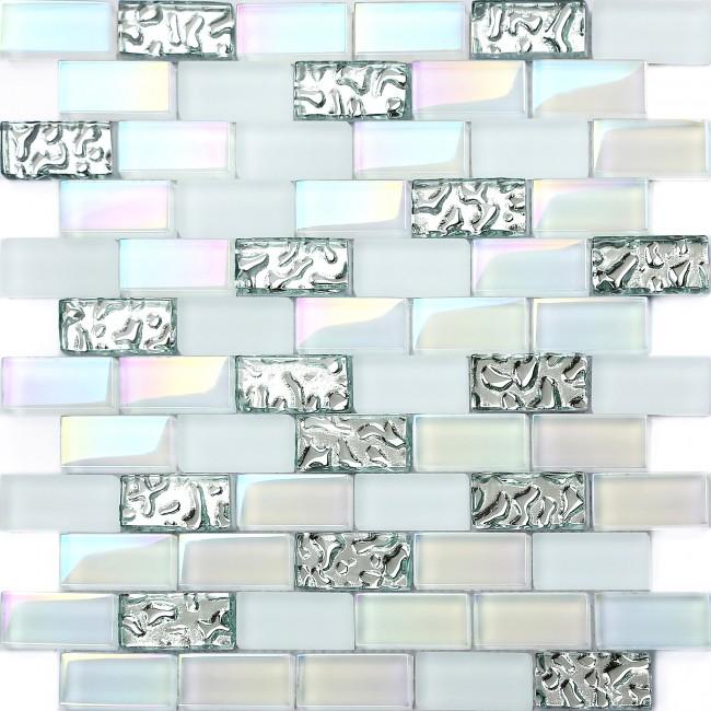 TST 1x2 Super White Iridescent Subway Brick Glass Mosaic Tile For Kitchen  Backsplash Bath Shower Wall TSTNB04