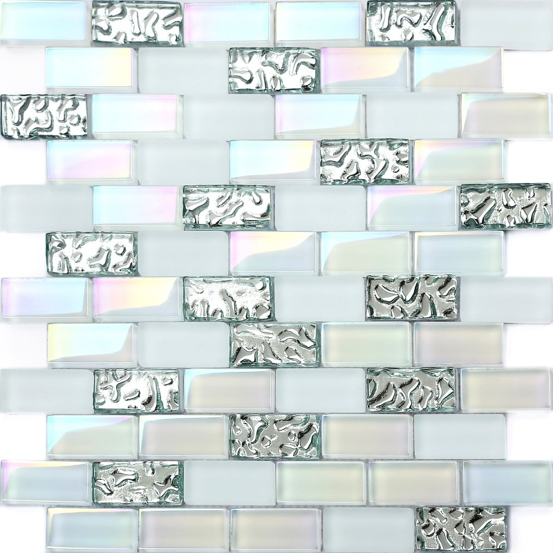 Tst Glass Metal Tile Iridescent White Glass Silver Mirror