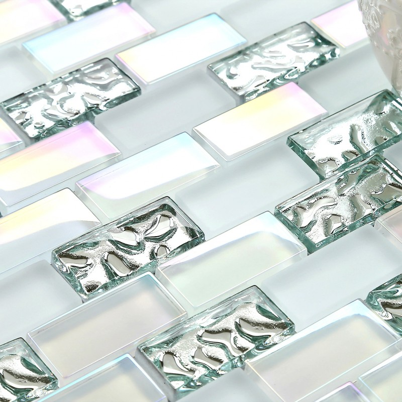 Tst Glass Metal Tile Iridescent White Glass Silver Mirror