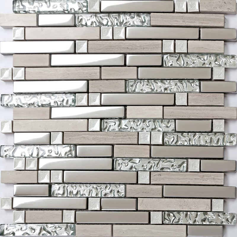 Tst Stone Glass Striped Tiles Sliver Mosaic White Marble