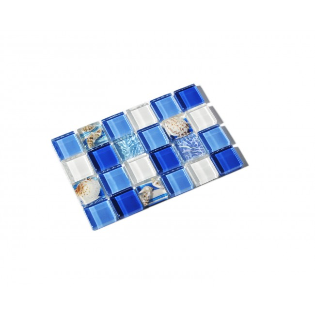 TST Glass Conch Tiles Sea Blue Glass TSTNB07  Sample 4 x 6 inches