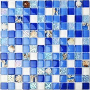 TST Glass Conch Tiles Sea Blue Glass Mosaic Mother of Pearl Resin for Bathroom Shower TSTNB07