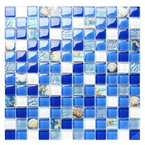 TST Glass Conch Tiles Beach Style Sea Blue White Glass Mosaic Mother of Pearl Resin for Bathroom Shower TSTNB07