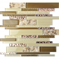 TST Interlocking Glass Tile Rose Golden Beige Tan Interior Wall Beach Sand Inner Conch Style Kitchen Backsplash TSTNB08
