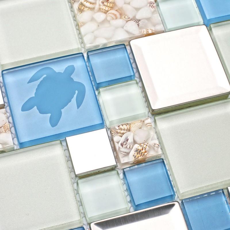 New Idea Tile Kitchen Bath Backsplash Accent Wall Decor TST Glass Metal  Tile Marine Animals Icon Beach Style Inner Conch Sea Blue Mosaic Tiles  TSTNB11