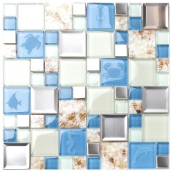New Idea Tile Kitchen Bath Backsplash Accent Wall Decor TST Glass Metal Tile Marine Animals Icon Beach Style Inner Conch Sea Blue Mosaic Tiles TSTNB11