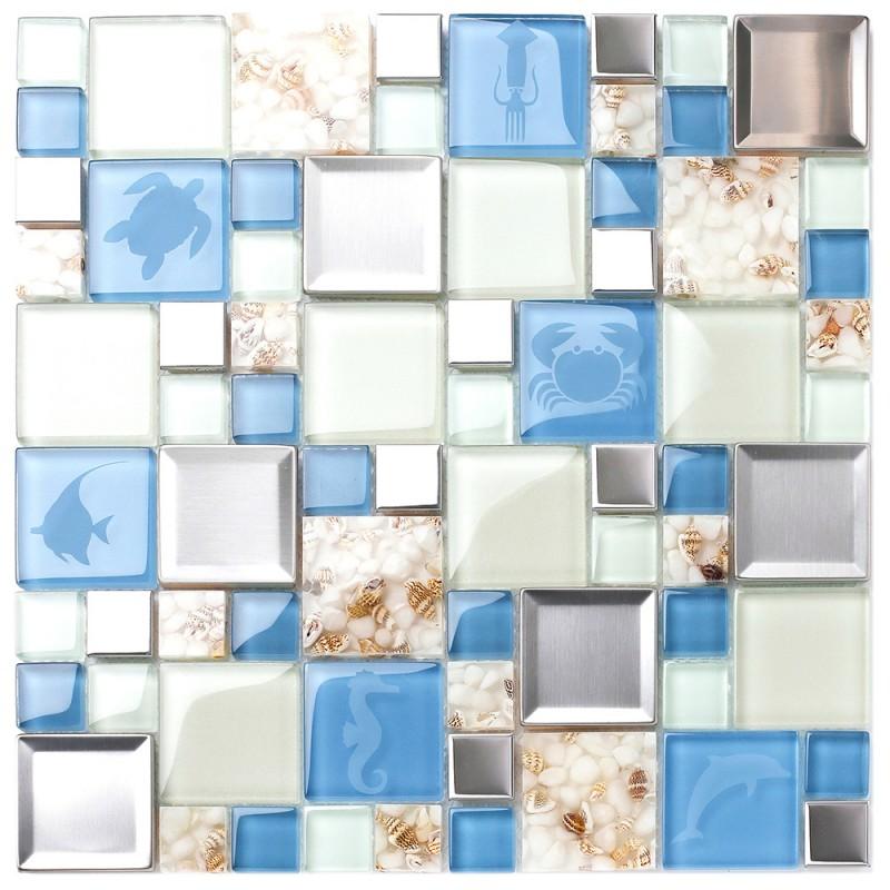 New Idea Tile Kitchen Bath Backsplash Accent Wall Decor TST Glass Metal Tile  Marine Animals Icon ...