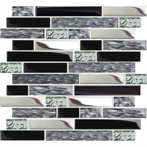 TST Glass Metal Tiles Art Mosaic Silk Black Crystal Glass Chrome Silver Steel Accent Wall Border Kitchen Bath Backsplash Tile TSTNB12
