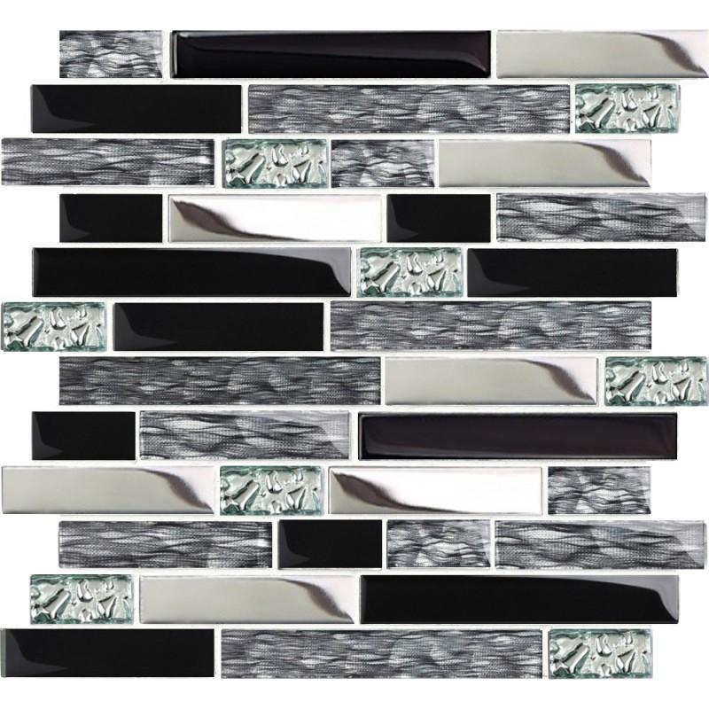 Tst Mosaic Tiles Black Chrome Silver Gl Tile Kitchen Backsplash Art Bath Wall Tstnb12