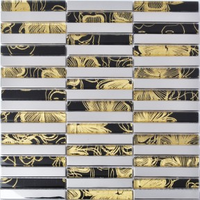 TST Glass Metal Tile Vintage Black And Yellow Silver Stainless Steel For Kitchen Backsplash Tiles Deco