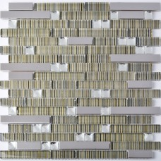 TST Glass Metal Tiles Transparent Stripe Diamond Design Glass Mosaic Tiles Bathroom Remodeling