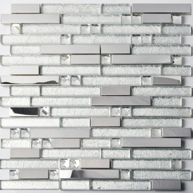 TST Glass Metal Tile Silver Stainless Steel Glass Mirror Glass Tiles With Inner Snowy Crackle For Bathroom Remodeling