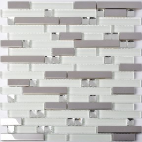 TST Glass Metal Tiles Silver Mirror & White Strips Diamond Grids Glass Mosaic Wall Design