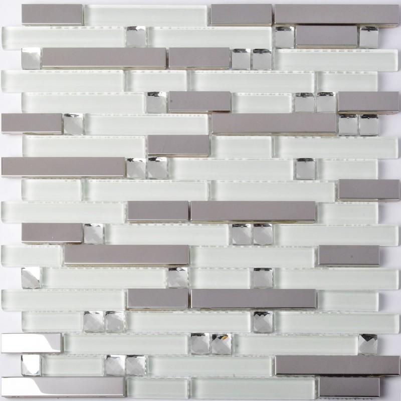 TST Glass Metal Tiles Silver Mirror & White Strips Diamond ...