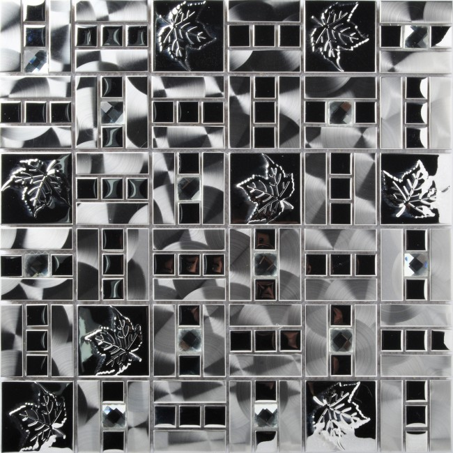 TST Stainless Steel Tiles Silver Mirror Inlaid Diamond Metal Mosaic Tile Interior Design Maple Leaves