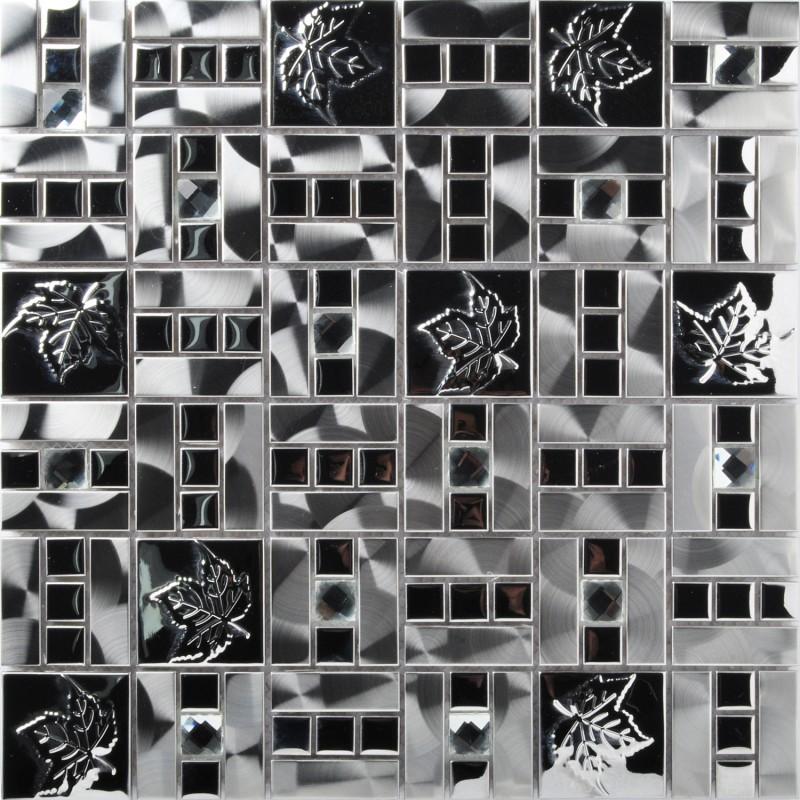 Tst Stainless Steel Tiles Silver Mirror Inlaid Diamond Metal Mosaic Tile Interior Design Maple Leaves
